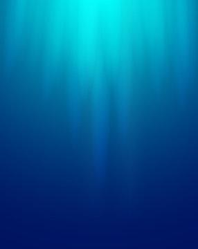 Ocean water blue background underwater rays sun.3D Vector illustration.
