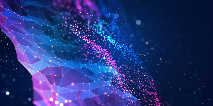 Abstract neural network. Big data concept. Global database and artificial intelligence. Bright, colorful 3D illustration with bokeh effect