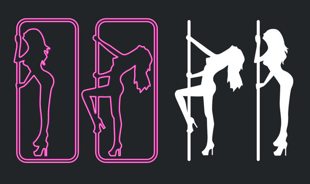A vector illustration of an illuminated neon pink sign for a strip club incorporating a dancing girl