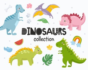 Set of cute dinosaurs isolated on white background. Kids illustration. Funny cartoon Dino collection and prehistoric elements. Tropical leaves, dino eggs, rainbow.