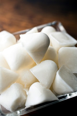Close up of coconut ice cubes