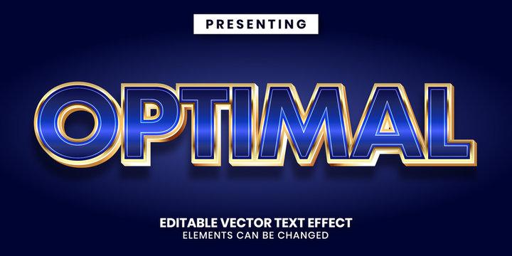 Editable text effect - Shiny blue gold metallic style