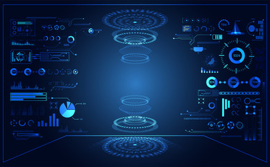 abstract technology ui futuristic concept hud interface hologram elements of digital data chart on hi tech future design background