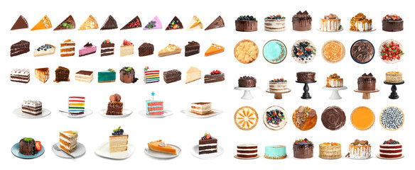Set of different delicious cakes isolated on white. Banner design Fotomurales