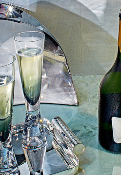 Close up of champagne served in glasses