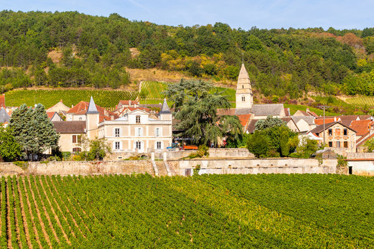 15 September 2019. View of Saint-Aubin village in Burgundy, France.