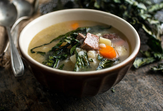 Brisket barley soup with crispy kale