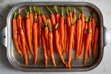 Overhead view of carrots in baking dish