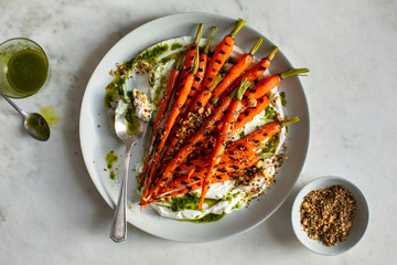 Grilled carrots with yogurt, carrot top oil and†dukkah