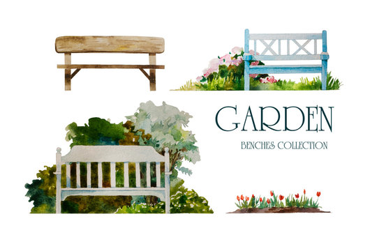 Set of watercolor garden benches for landscape design, hand painted in fromt view and isolated on white background.