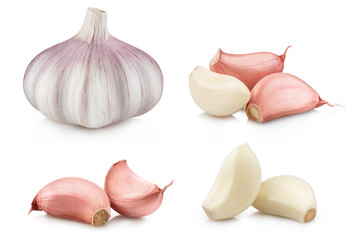 Collection of garlic and cloves, isolated on white background Wall mural