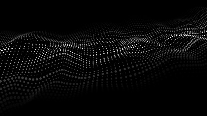 Foto op Plexiglas Zwart Wave of particles. Abstract background with a dynamic wave. Big data. Vector illustration.