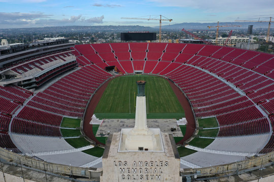 The Los Angeles Coliseum sports arena is seen empty as the spread of the coronavirus disease (COVID-19) continues, in Los Angeles