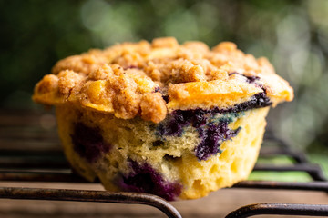 Freshly baked blueberry crumb muffin on cooling rack
