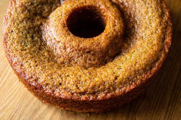 Close up of honey bundt cake