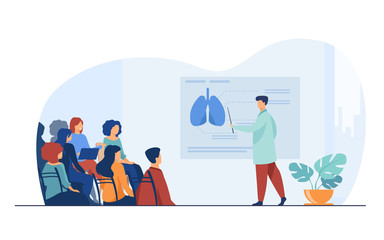 Medical college professor teaching students. Doctor presenting human lungs infographics to audience at conference. Vector illustration for seminar, lecture, healthcare meeting concept