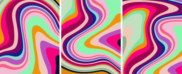 Fototapeta Retro colorful psychedelic abstract art template set, vector obraz