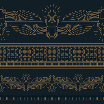 Color illustration of the Egyptian scarab beetle, personifying the god Khepri with seamless pattern.