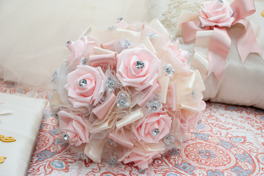 Faux Pink roses and ivory bouquet