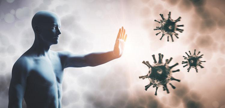 Man stopping coronavirus. Immune system defend from corona virus COVID-19.