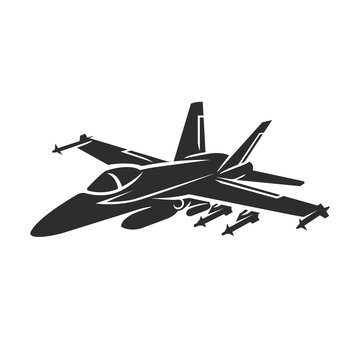 Jet fighter vector illustration. Military aircraft. Carrier-based aircraft.
