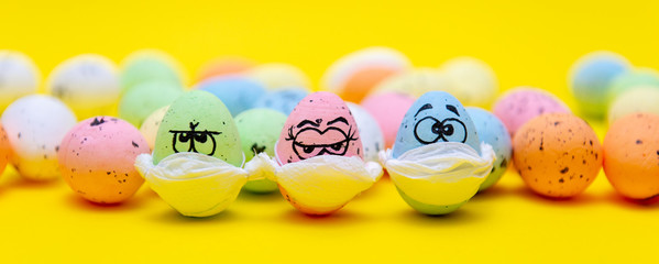 Masked funny eggs for Easter