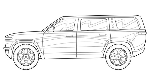 Coloring page for book and drawing. Concept vector illustration. Offroad drive vehicle. Graphic element. Car wheel. Black contour sketch illustrate Isolated on white background. Wall mural