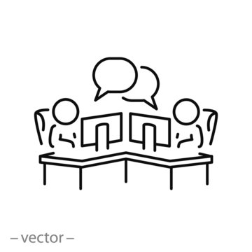 coworking icon, work space, people workplace office, remote company marketing, online employee conference, thin line web symbol on white background - editable stroke vector illustration eps10