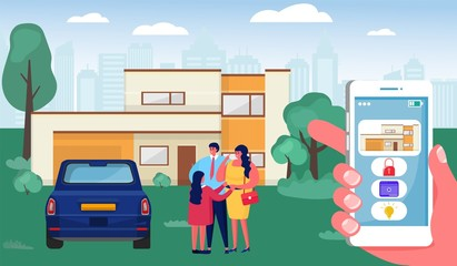 Smart home vector illustration. Cartoon flat human hand holding smartphone with control interface, happy family people standing near modern house. Automation home system technology concept background