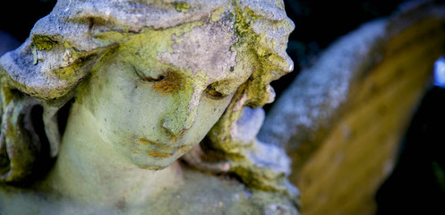 Fototapete - Ancient stone statue of  wonderful angel with sweet facial expression. Horizontal image.