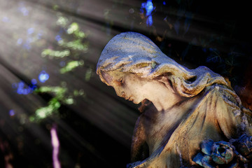 Fotomurales - Wonderful angel with sweet facial expression in the sunlight. Fragment of ancient stone statue.