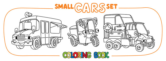 Foto op Canvas Cartoon cars Funny small cars with eyes. Coloring book set