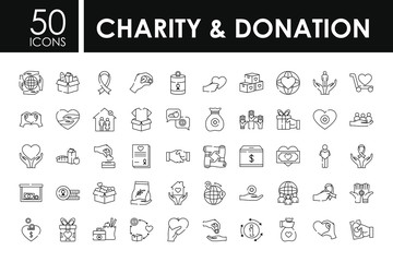 charity and donation icon set, line style