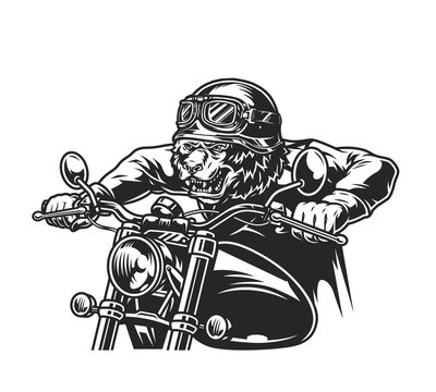 Vintage motorcycle monochrome template