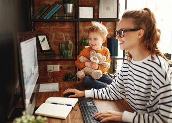 Boy and mother about data analysis during work. Wall mural