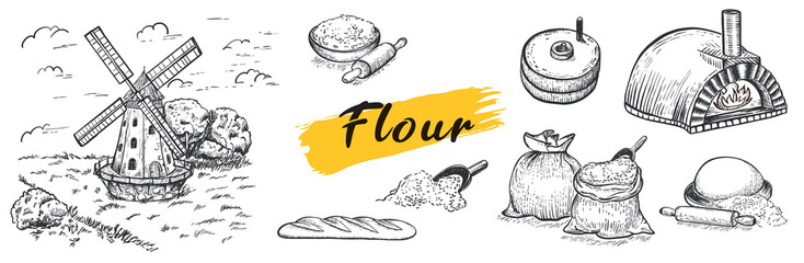 Set of flour, hand mill, windmill, neapolitan stove, wheat, grain, ingredients. Hand drawn vector illustration. Engraving style. Big set. Wall mural