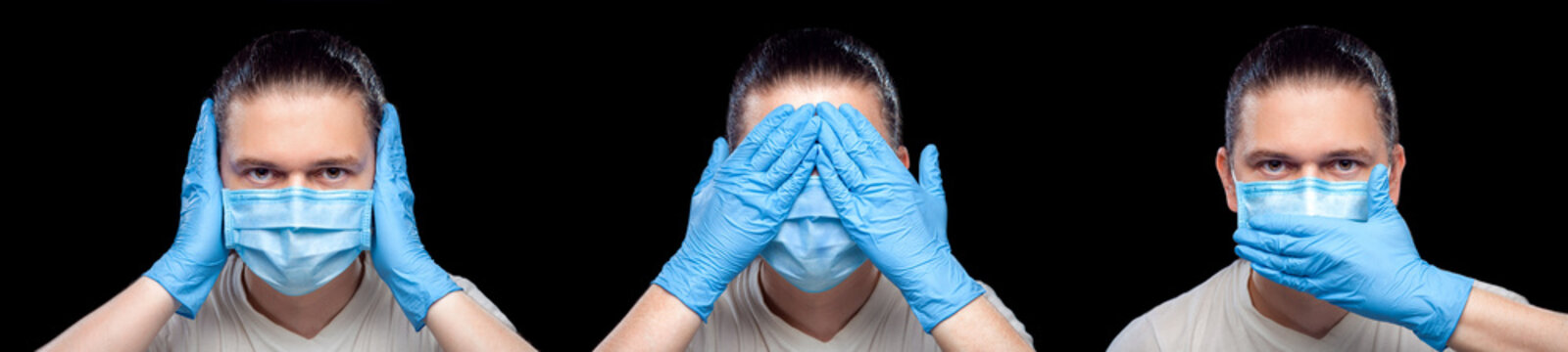 Blind deaf mute male portrait of a doctor in a medical mask and surgical gloves isolated on a black background, conceptual photo I don't hear anything, I see nothing, I will not say anything.