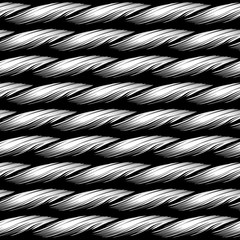 braided rope lines seamless pattern texture illustration in black and white, Can be tiled