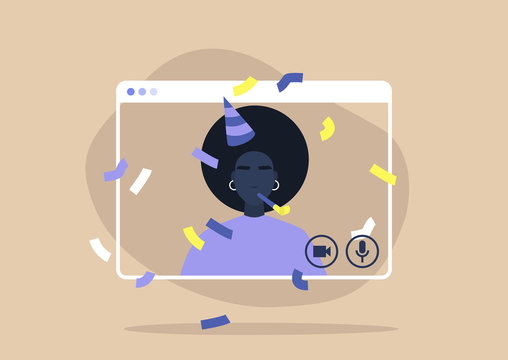 Young black female character celebrating their birthday online, self isolation party