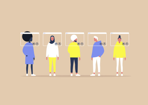 Group video call, virtual window frames, young characters having an online meeting