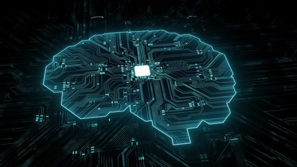 Wall Mural - Artificial intelligence (AI), data mining, deep learning modern computer technologies. Futuristic Cyber Technology Innovation. Brain representing artificial intelligence with printed circuit board (PC
