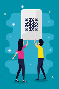 qr code woman and man avatar design of technology scan information business price communication barcode digital and data theme Vector illustration