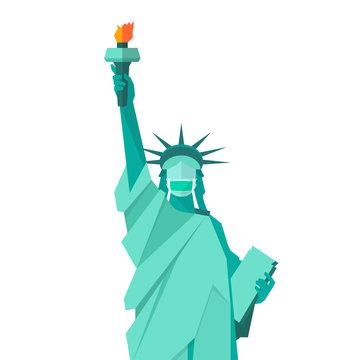 Statue of liberty wearing protective medical mask