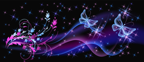 Obraz Fantasy fabulous butterflies with mystical flowers ornament and sparkle glowing stars - fototapety do salonu