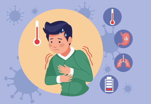 young man with fever covid19 symptoms and set icons