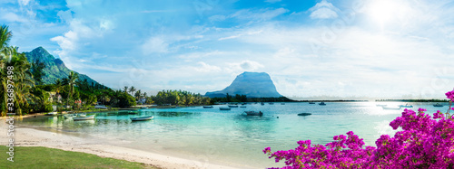 Wall mural Mauritius landscape with la Gaulette fisherman village and Le Morne Brabant mountain, Africa