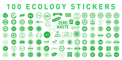 Set of 100 ecology various badges, stickers, symbols and emlems. Environment protection. Vector illustration. Eps 10.
