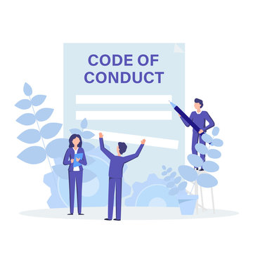 Code of conduct concept flat illustration. People working, discussing and create rules, principles, values, and employee expectations to their operation.