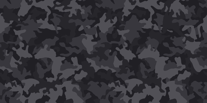 Black camouflage pattern , seamless vector background. Classic clothing style masking dark camo, repeat print. Monochrome texture