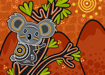Aboriginal art vector painting with Koala bear on wood branch with green leaves.